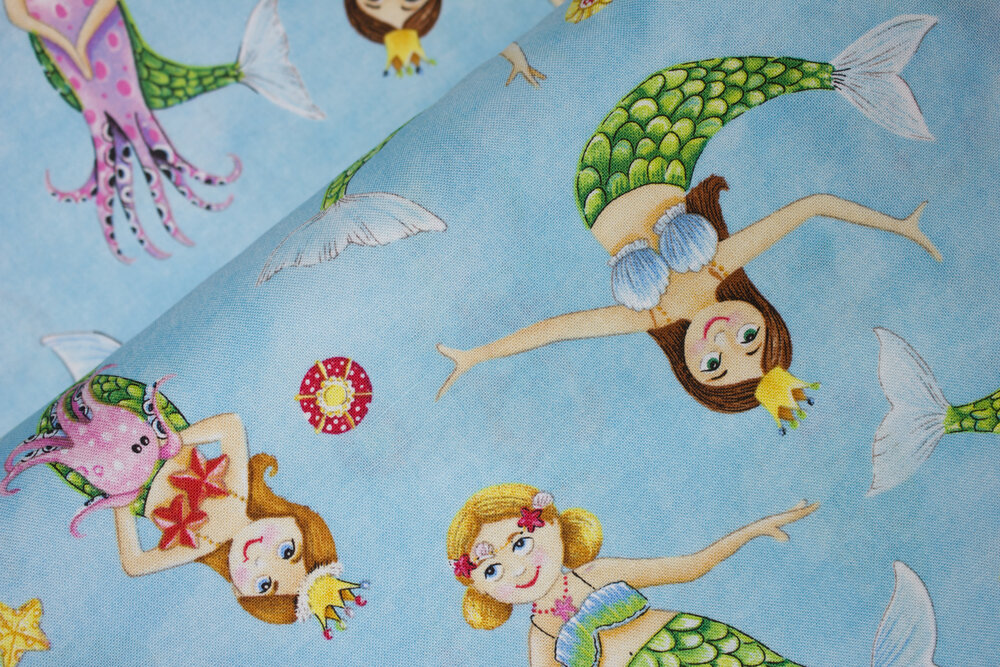 SPECIALTY FABRICS ROOM:  Little Mermaids on Blue by Elizabeth's Studio