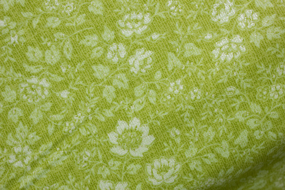 Piccadilly - Small Tonal Floral with white sparklies on Green - Paintbrush Studio