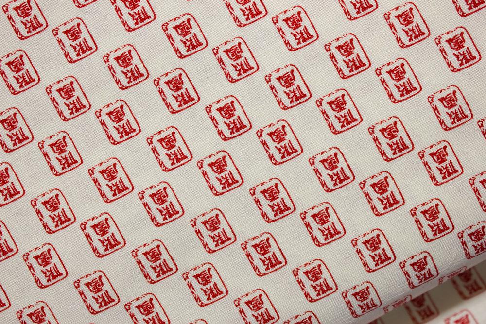 China Cream and Red Mahhjong Ditsy by Mary Fons