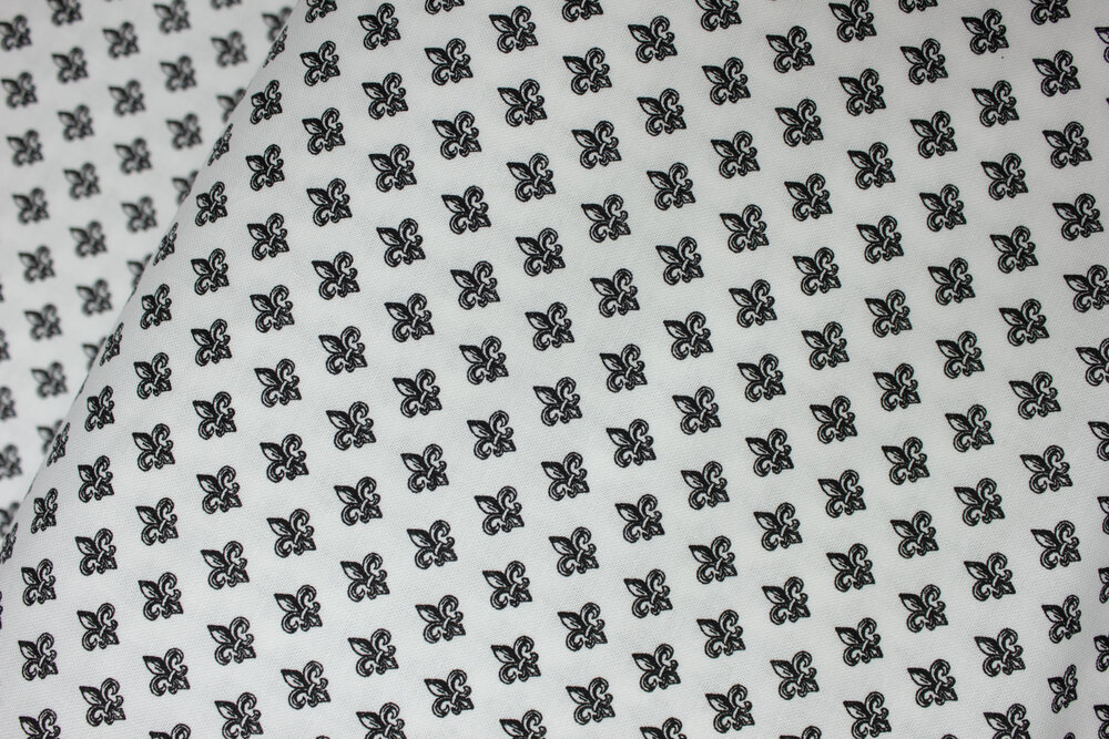 Small Black Fleur de lis Motif on White: Love from Paris by Whistler Studios for Windham Fabrics