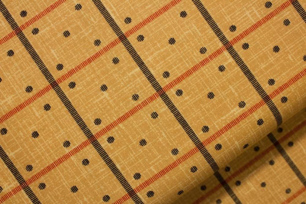 Enduring Grace - Black and Red Domino Print on Brown