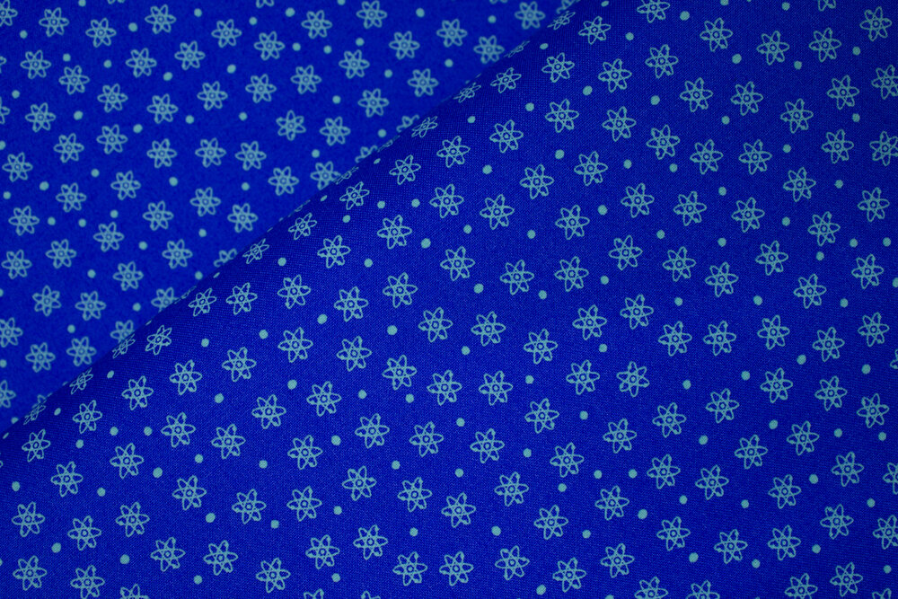 SPECIALTY FABRICS:  Blue Atoms - Geekery by Sue Marsh for RJR Fabrics