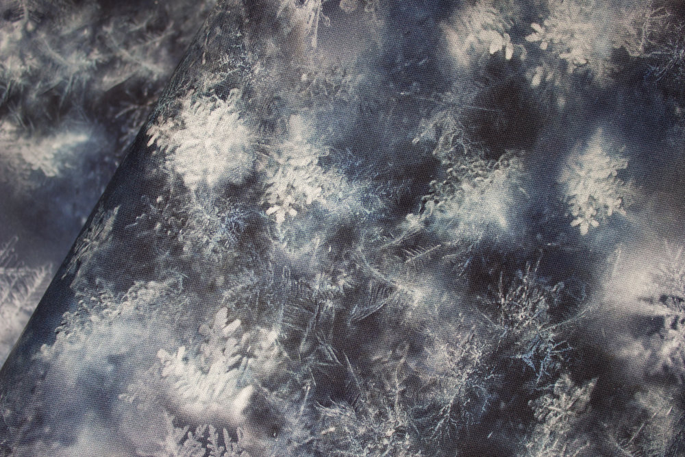 SPECIALTY FABRICS:  Payne's Gray: Blue-Gray with Snowflakes and Frost: Call of the Wild by Hoffman