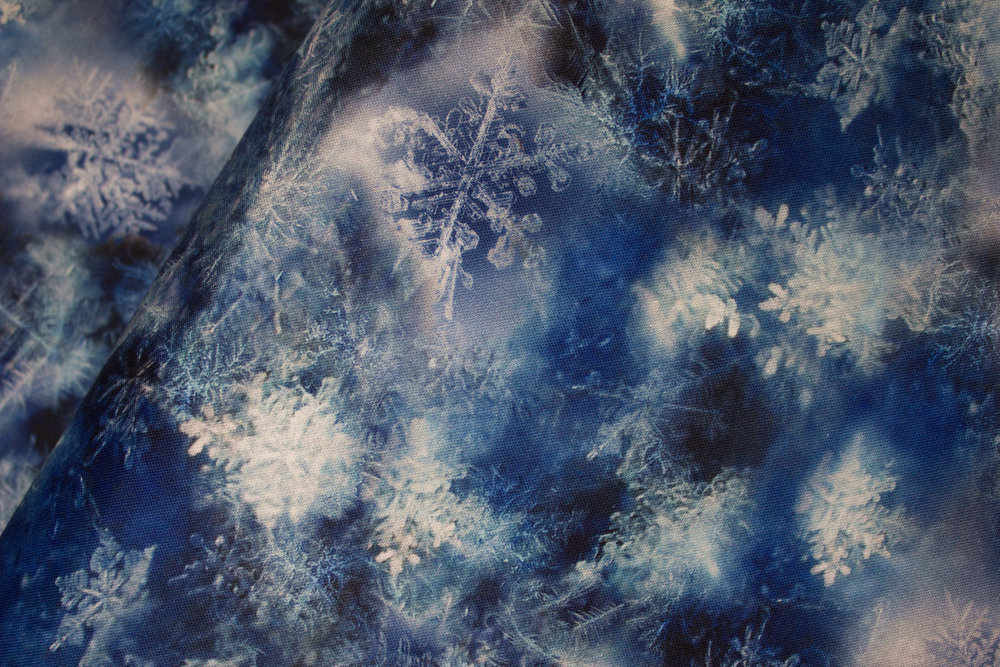 SPECIALTY FABRICS:  Blues with Snowflakes and Frost:  Call of the Wild by Hoffman