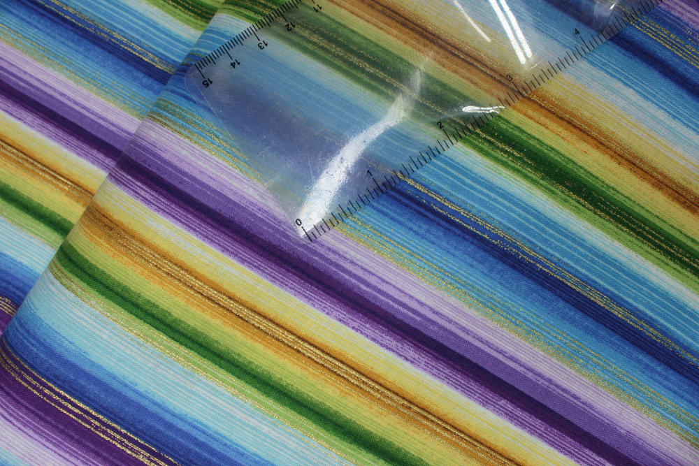 SPECIALTY FABRICS ROOM: Watercolor Stripes in Purple, Greens and Blues: Cottage Panel Coordinates by Chong-a Hwang for Timeless Treasures