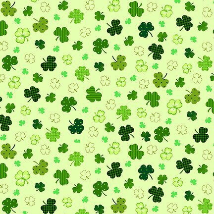SPECIALTY FABRICS ROOM:  Green Shamrocks on Green -St. Patrick's Day - Irish Folk - by Henry Glass Fabrics