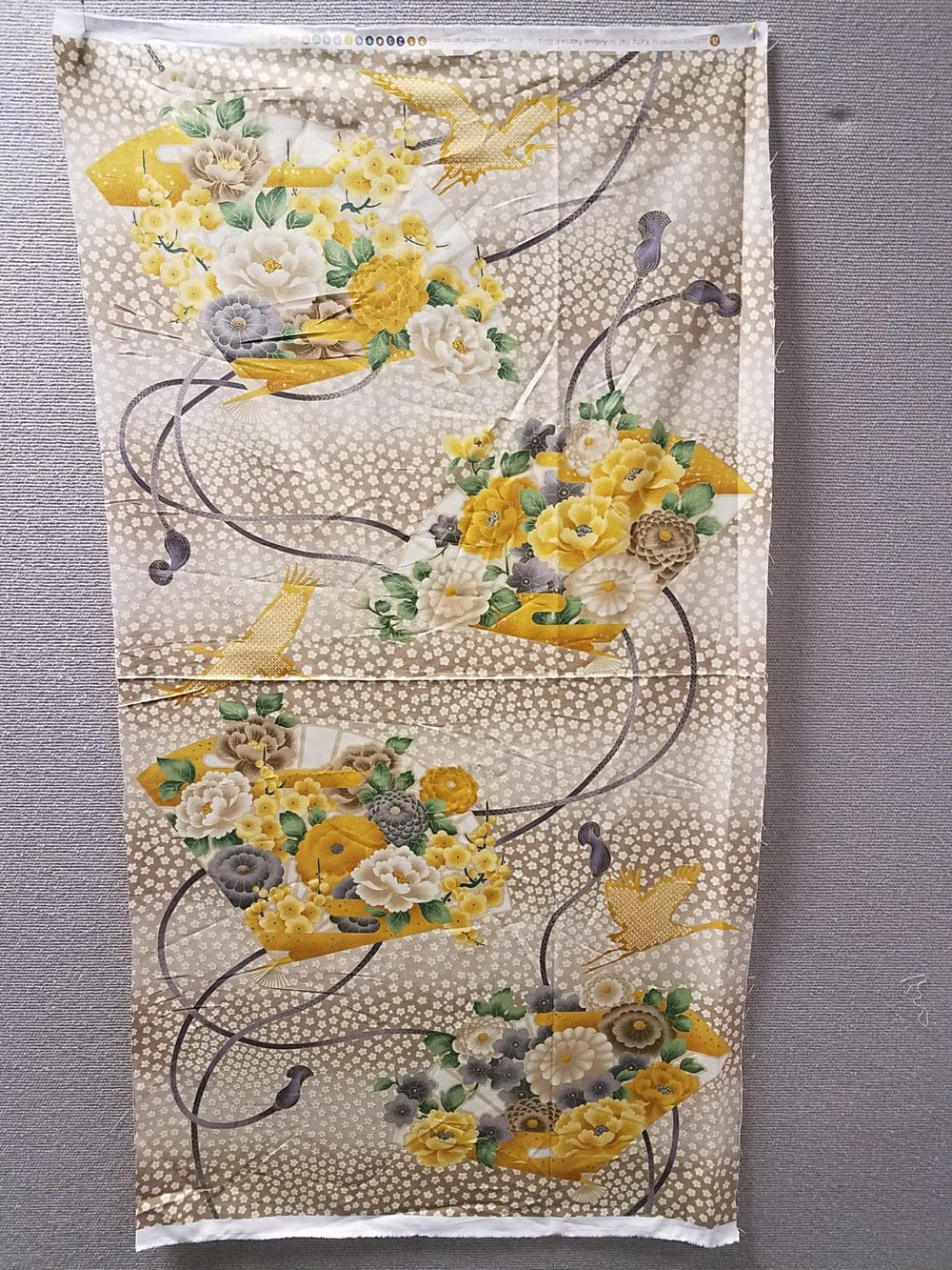 Golden Sleigh of Flowers by Kathy Hall for Andover Fabrics