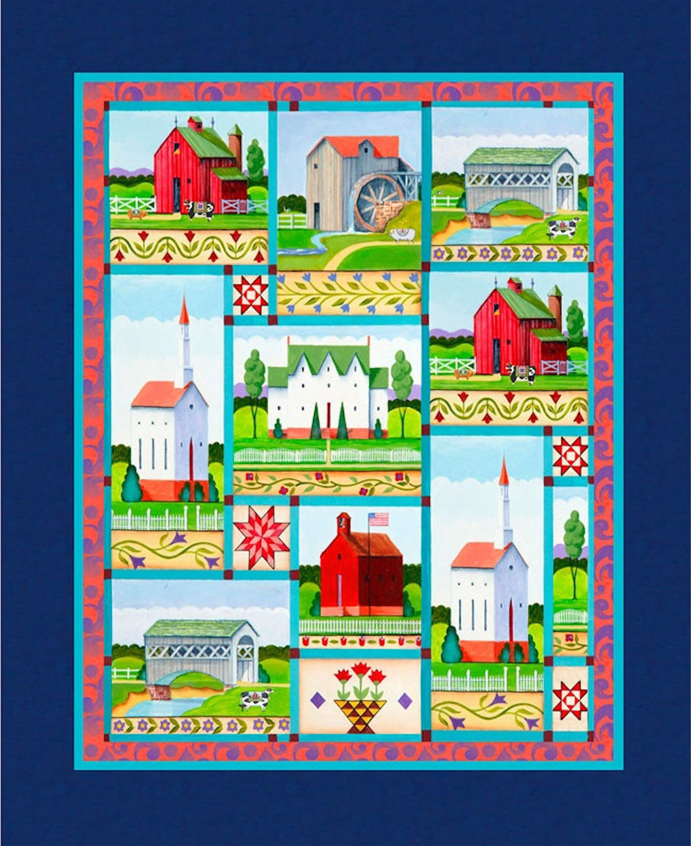 Village Farm Quilt Panel by Jim Shore for Springs Creative