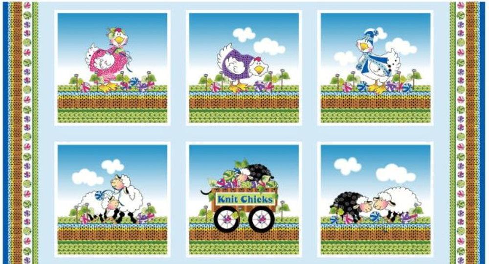 Knit Chicks Panel by Henry Glass