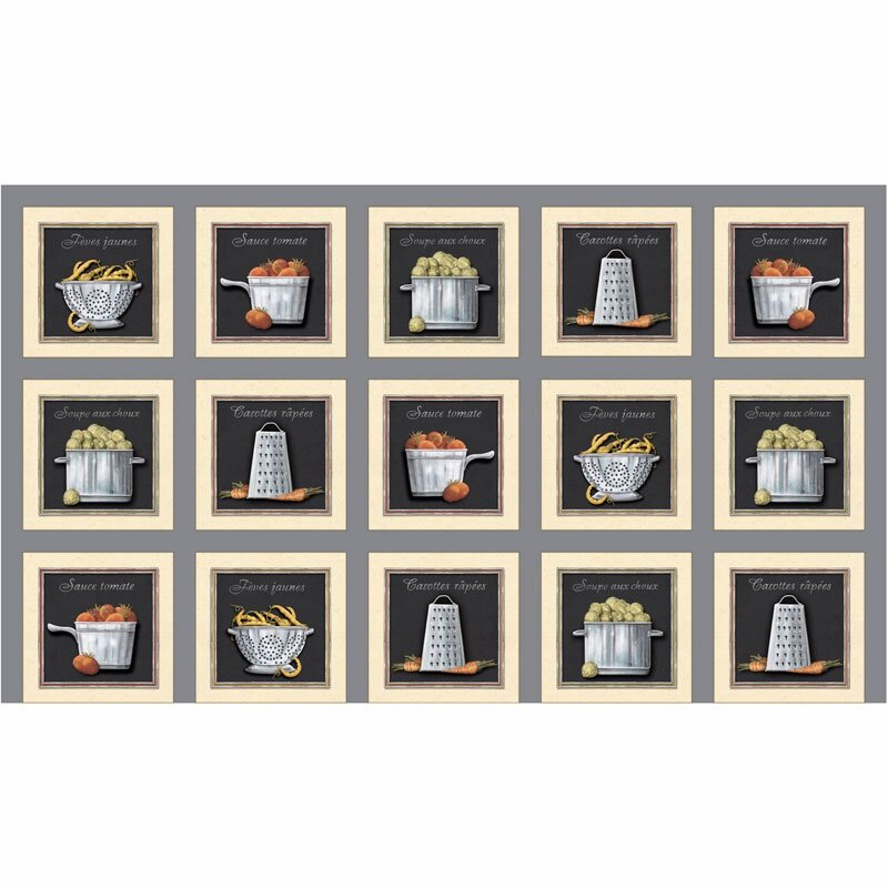 Cookware and Veggie Patch on Gray Panel by Charlene Audrey for Quilting Treasures