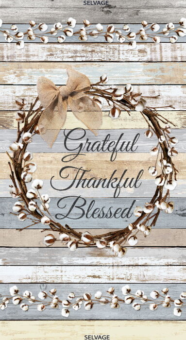 Grateful - Thankful - Blessed Quilt Panel by Timeless Treasures