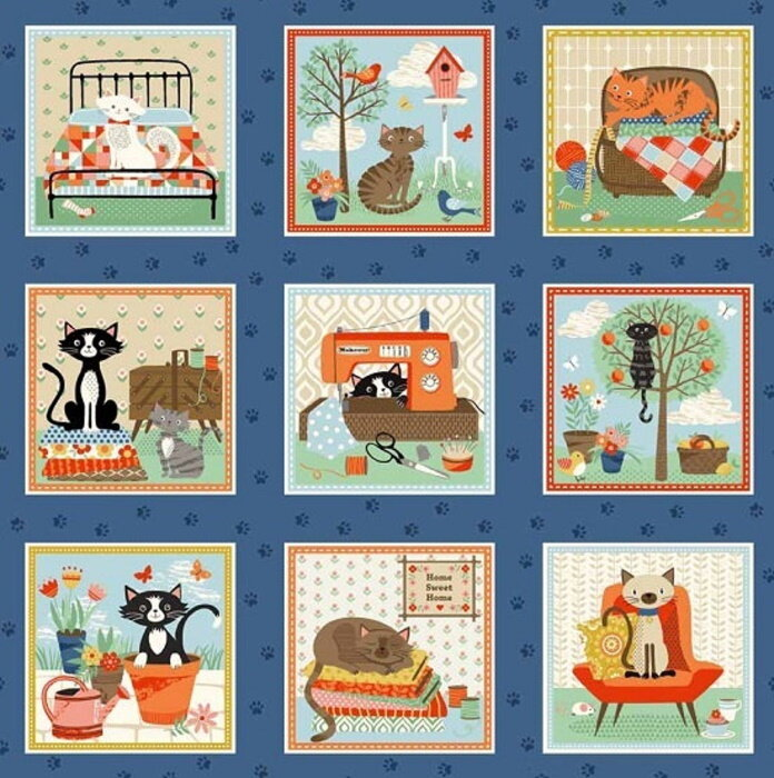 Crafty Cats Labels in 3 Squares by the Henley Studio for Makower OK