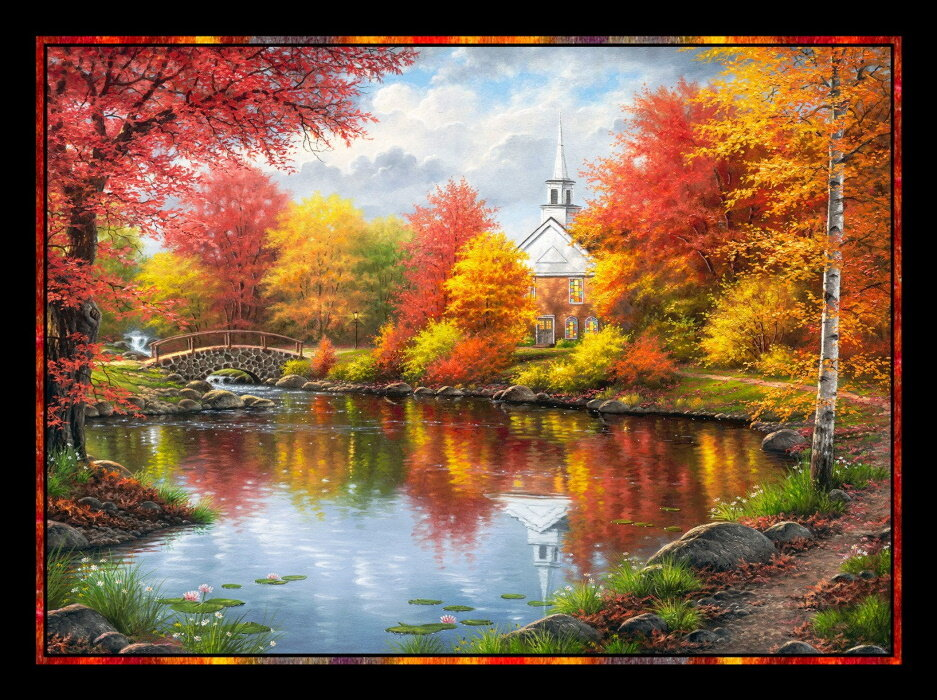 Autumn Tranquility Panel by Abraham Hunter Art for P&B Textiles