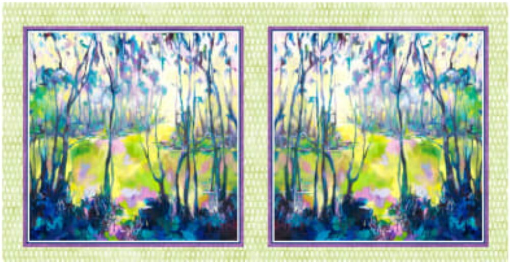 Naturesong with Light Green Border by Kristine Ballard for P&B Textiles