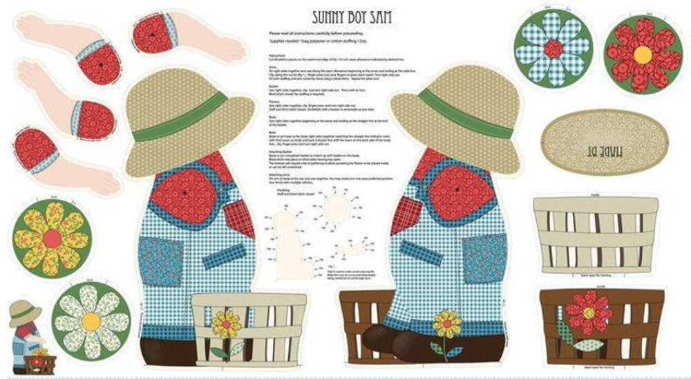 Sunny Boy Sam Stuffed Doll Panel for Benartex Fabrics