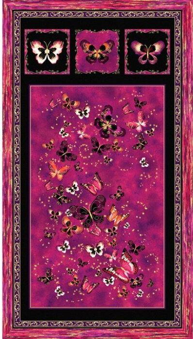 Butterfly Jewels in Pink Panel by Benartex