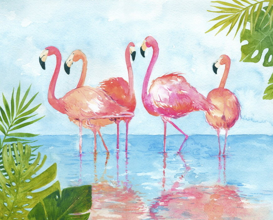 Flamingos and Leaves Panel by David Textiles