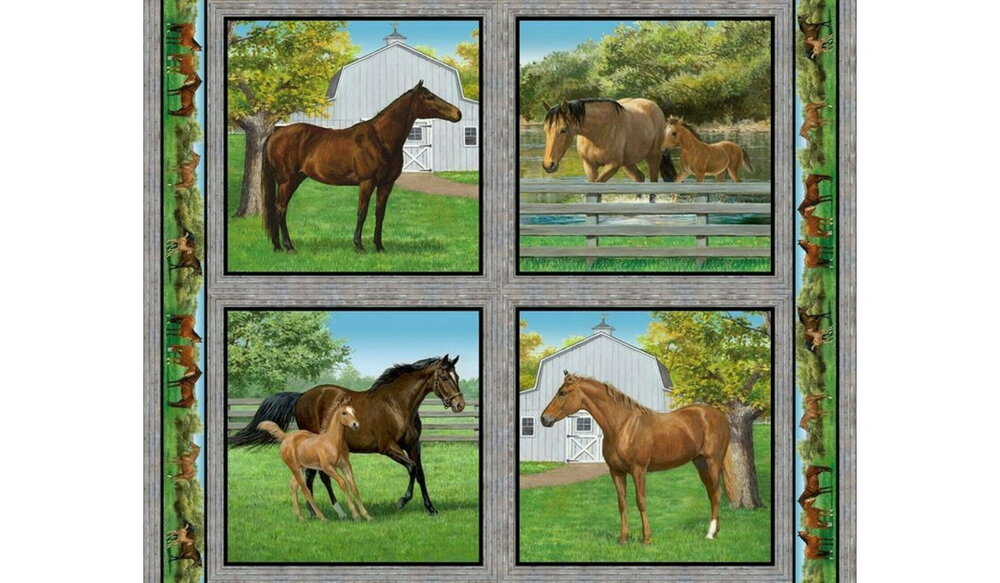 Horse Pillow Panel by Wild Wings for Springs Creative