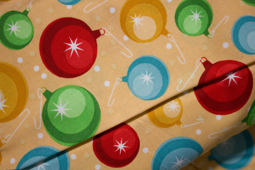 Christmas Cheer: Ornaments on Peach by Patrick Lose for Patrick Lose Fabrics