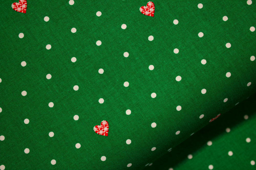 Green with Red Hearts