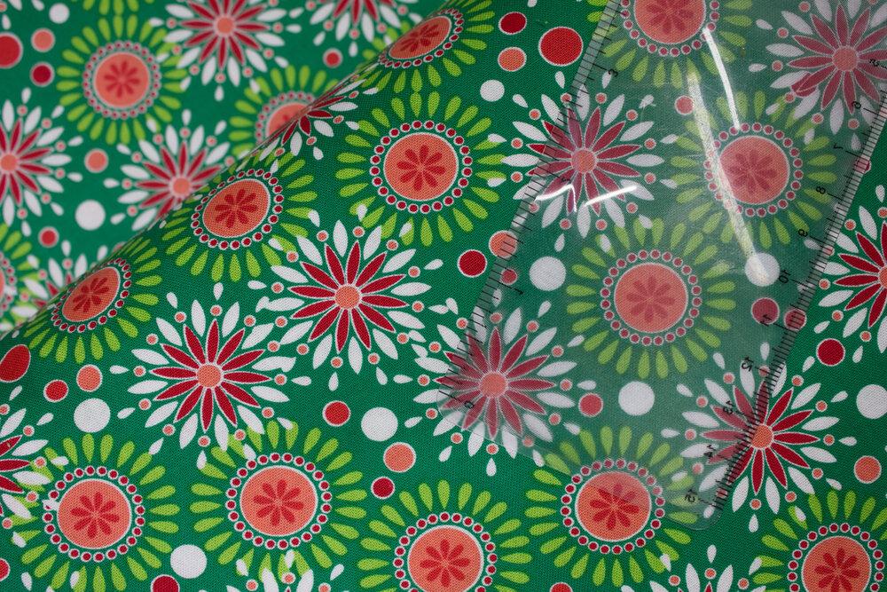 SPECIALTY FABRICS ROOM: Joyful Geometric Circular Designs on Green - Camp Joy Coordinates by Greta Lynn for Kanvas Studio in association with Benartex
