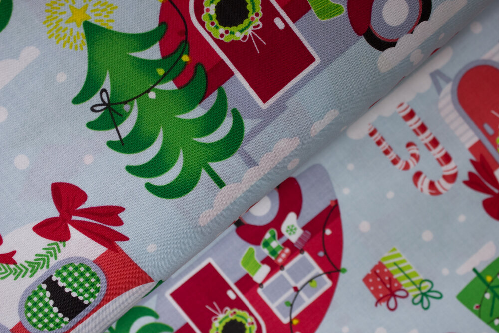 SPECIALTY FABRICS ROOM:  Christmas Campers on Sky Blue - Camp Joy Coordinates by Greta Lynn for Kanvas Studio in associaton with Benartex