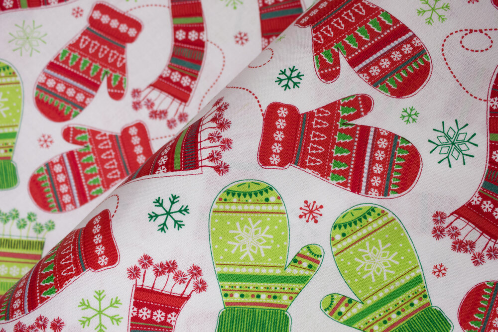 SPECIALTY FABRICS ROOM:  Stay Warm Red and Green Mittens and Scarves on White - Camp Joy Coordinates by Greta Lynn for Kanvas Studio in association with Benartex