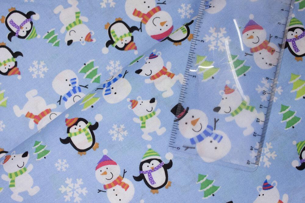 Snowmen, Penguins, and White Snowflakes on Blue