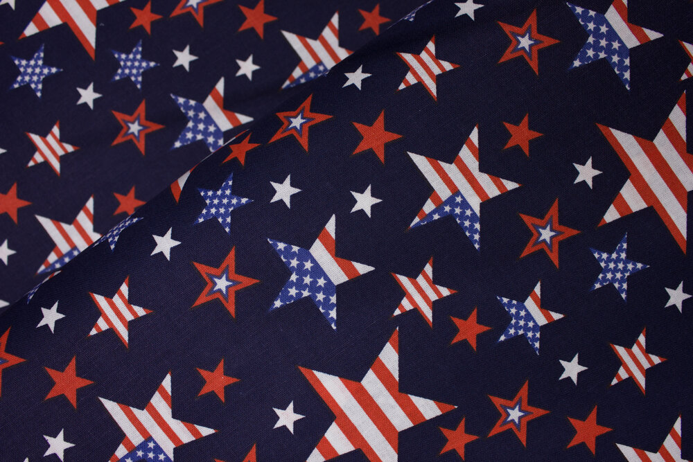 Navy Blue with Red, White, and Blue Various Sized Stars: Patriotic