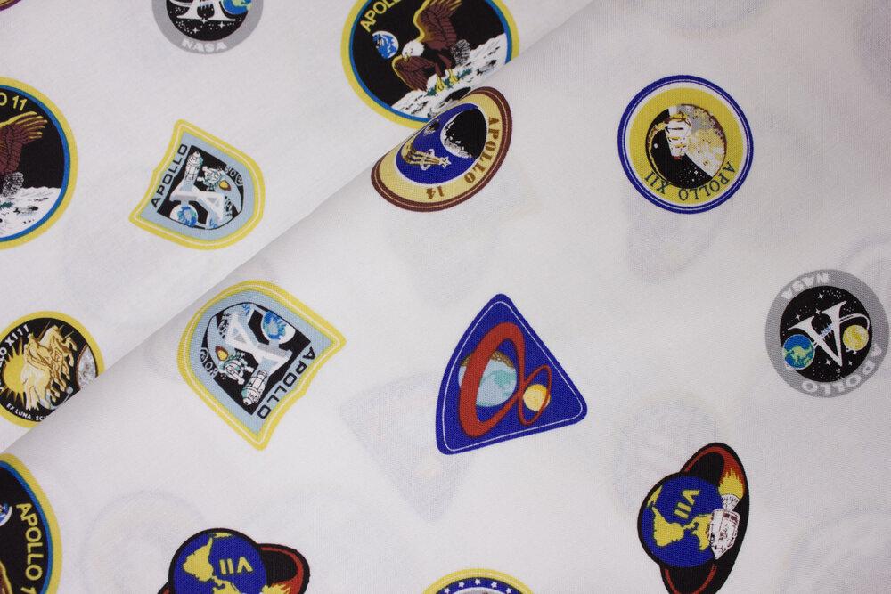 SPECIALTY FABRICS: NASA Patches on White: Apollo 11 for Riley Blake Designs