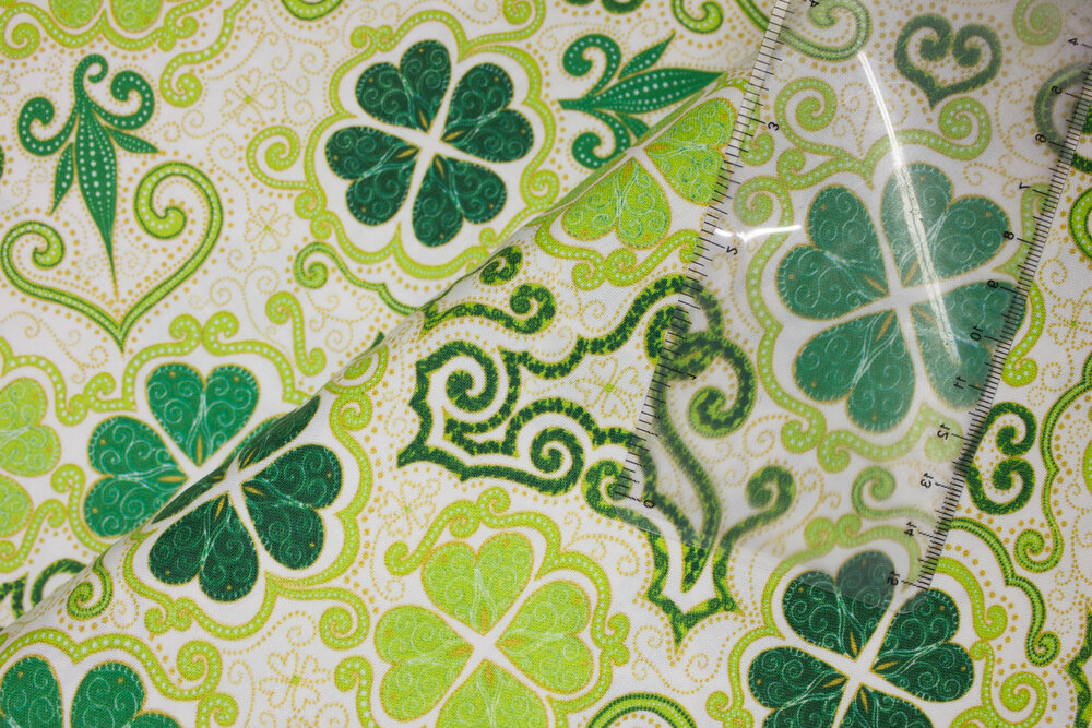 Decorative 4-Leaf Clovers, Shamrocks on White:  Lucky Clovers by Turnowsky for Quilting Treasures