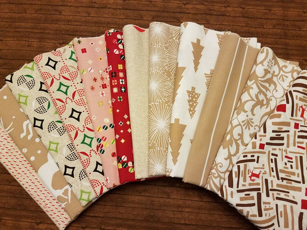 Modern Christmas in Taupe, Red, Pink and Green - 12 Piece Half Yard Bundle Pack