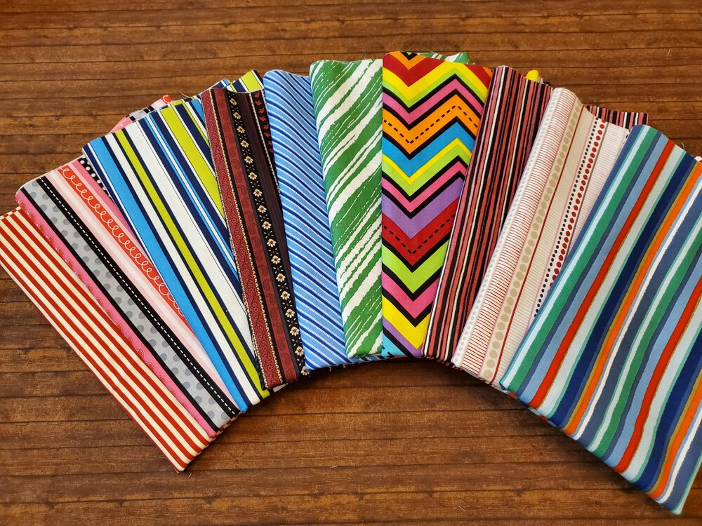 Stripes for Binding - Various Manufacturers - 10 Piece Half Yard Bundle Pack