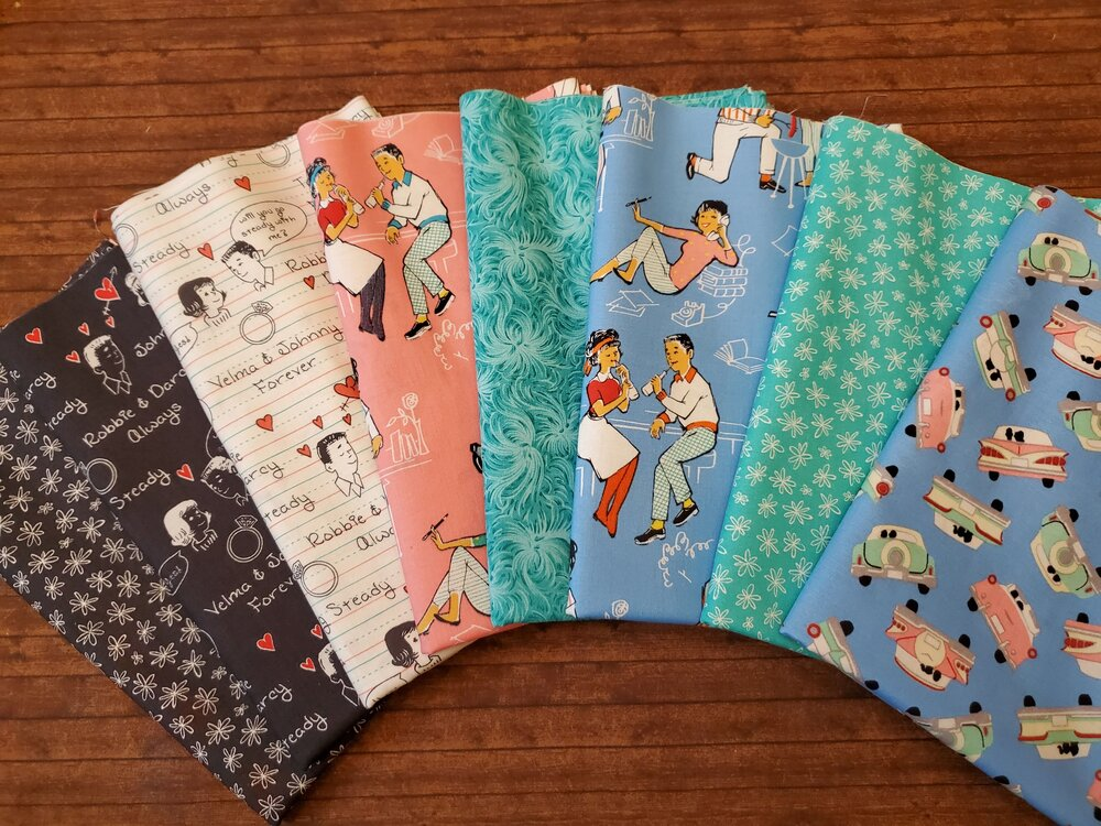 Going Steady - back to the 50's - by Windham Fabrics -  8 Piece Half Yard Bundle Pack