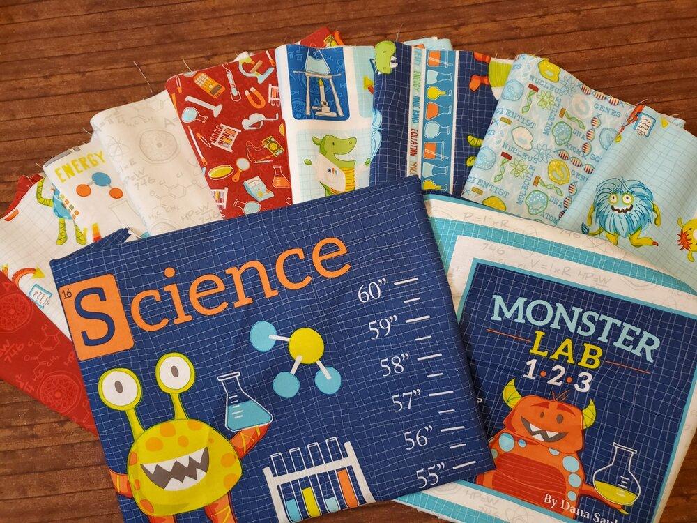 Monster Lab by Studio E Fabrics - 9 Piece Half Yard Bundle Pack + 2 panels