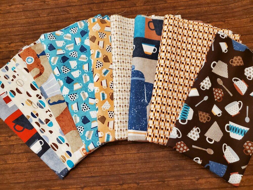 Perfect Blend Coffee Pack by Greta Lynn for Kanvas - 9 Piece Half Yard Bundle Pack