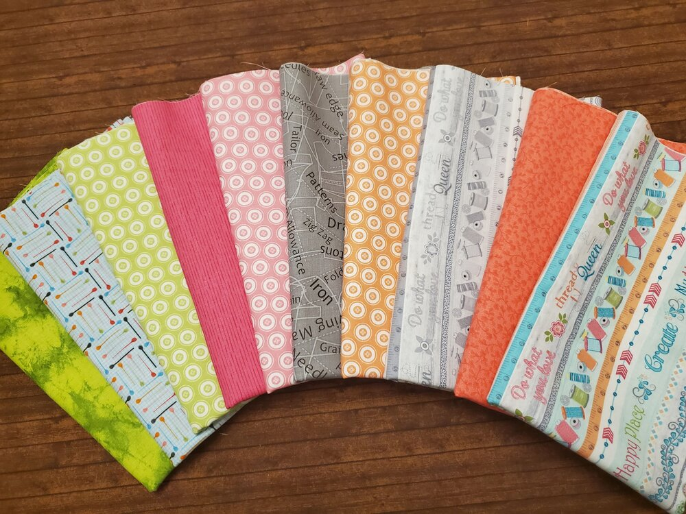 10 pc My Happy Place Sewing Pack by Cherry Blossoms Quilting for Contempo - 10 Piece Half Yards + Panel Bundle Pack