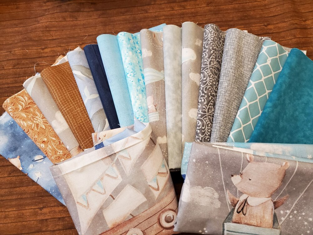 Adventures in the Sky - Gray, Teal and Blue Baby Pack - 15 Piece Half Yards plus 2 panels - Complete Baby Package