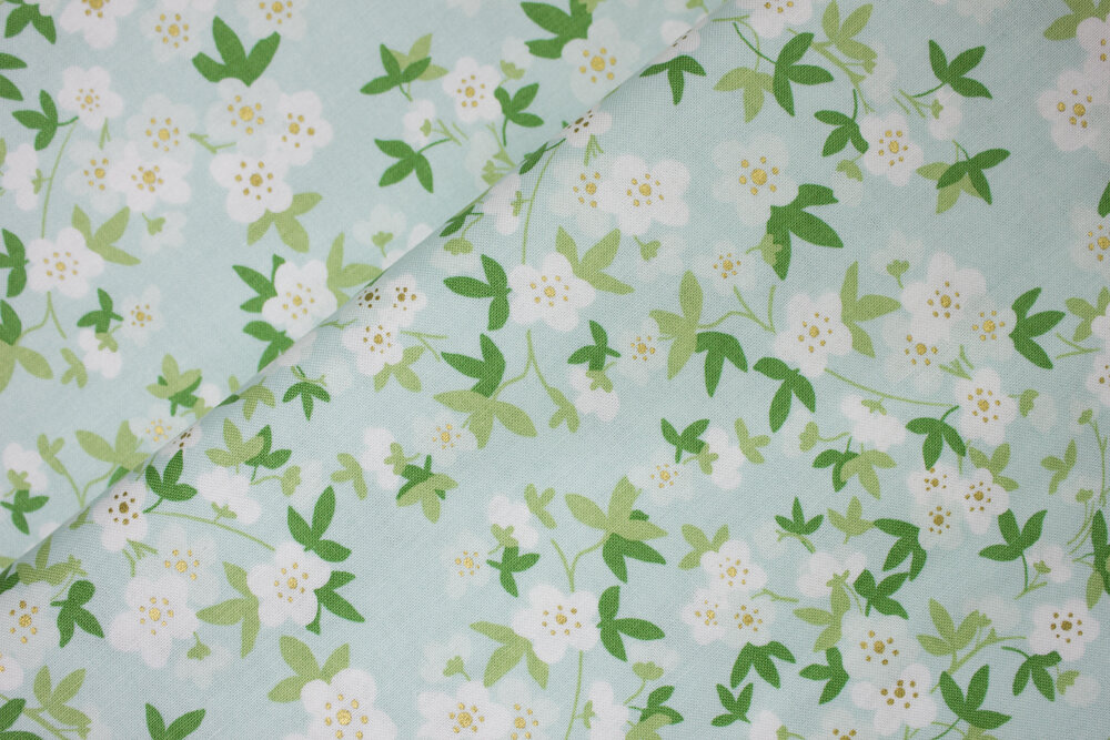 White Flowers with Green Leaves on Mint Green - Safari Party by Melissa Mortenson for Riley Blake