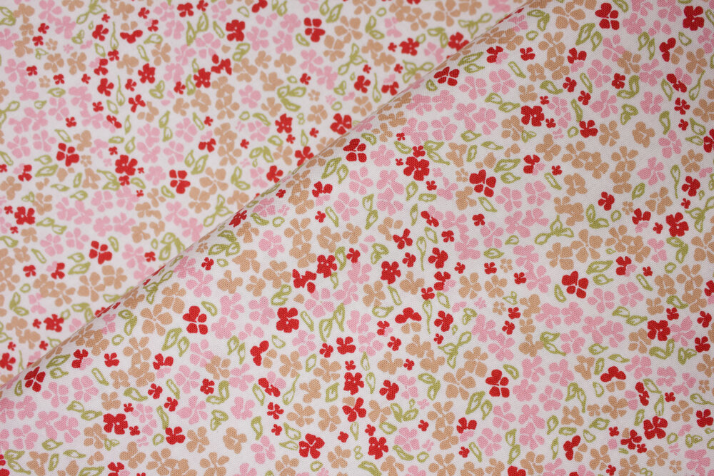 Pink, Tan, and Red Small Flowers with Green Leaves on White: Rustic Elegance for Riley Blake