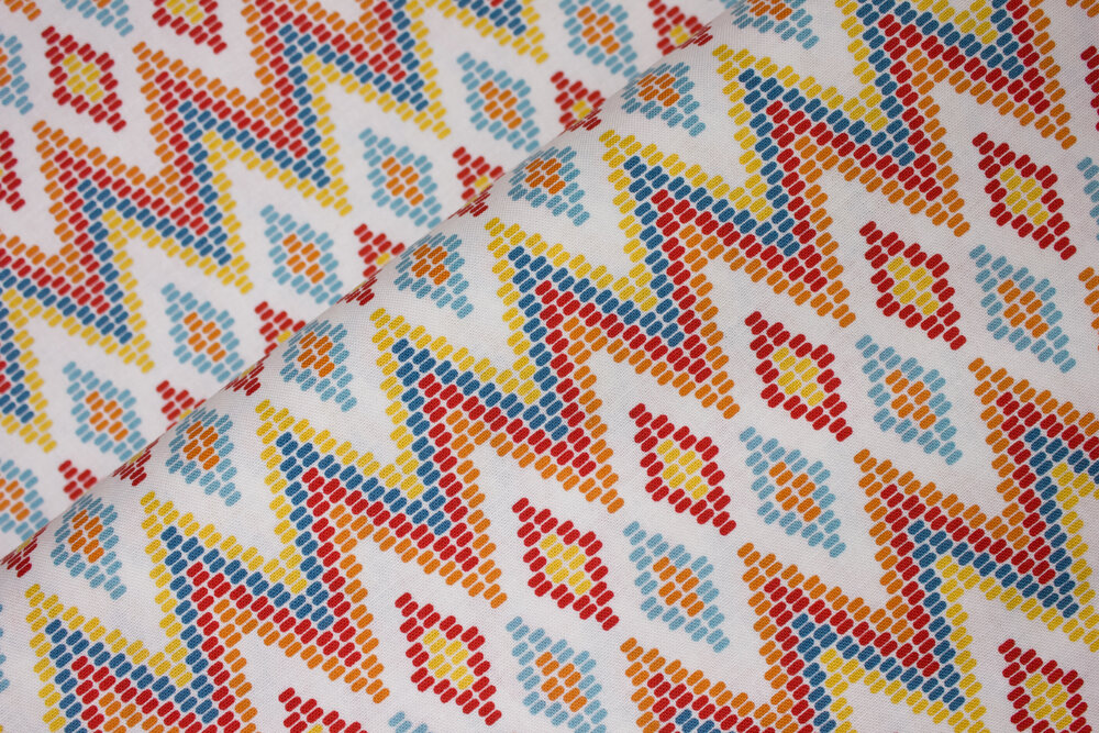 Swedish Weaving with Orange, Red, Blue and Yellow: Juxtaposy for Riley Blake