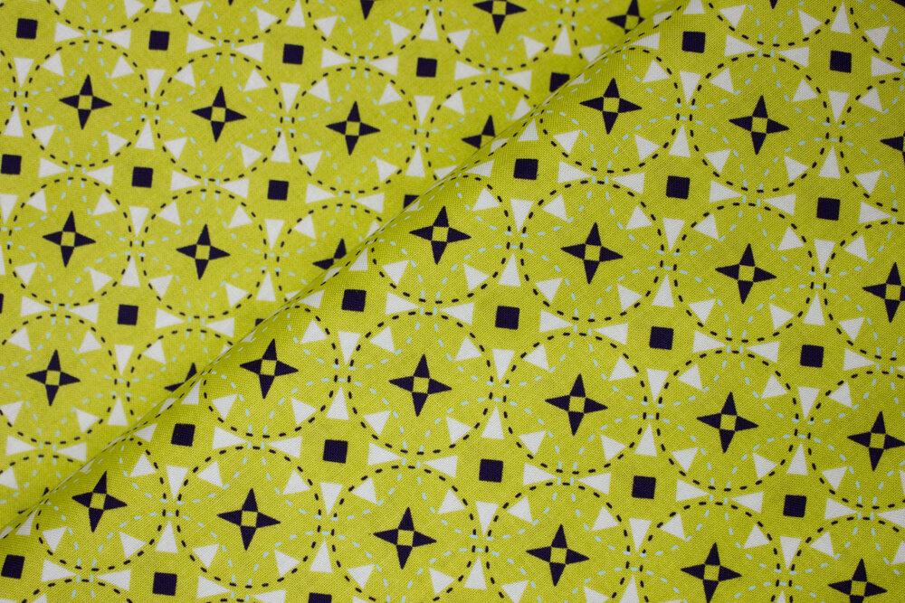 Green, Black, and White Geometric Flowers: Juxtaposy for Riley Blake