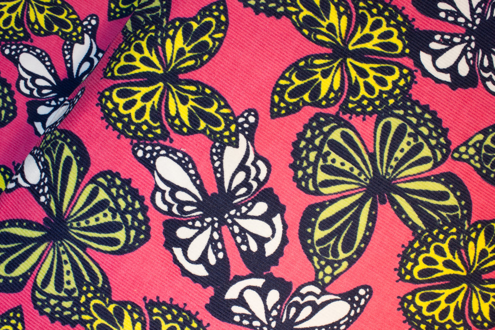 Corduroy: Yellow, Green and White Butterflies on Pink - Cool Cords - by Robert Kaufman