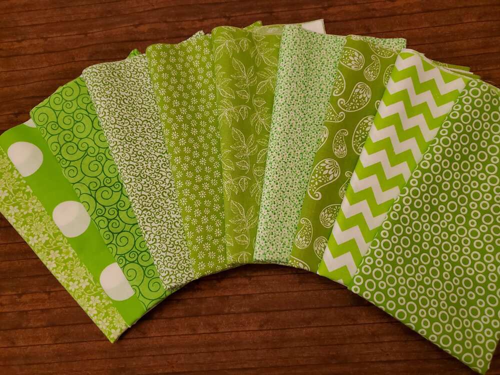 Mixed Lime Greens** with Quilter's Showcase - 10 Piece Half Yard Bundle Pack
