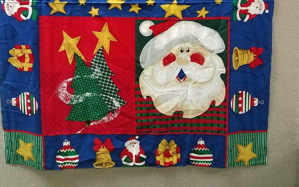Santa & Ornaments on Blue Panel