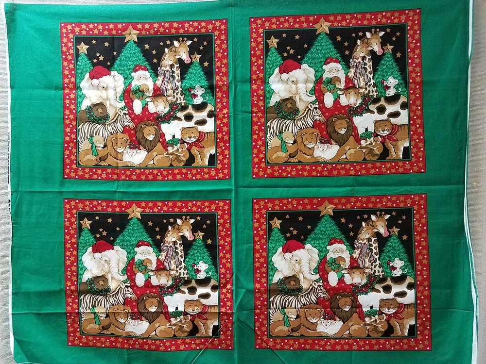 Santa with Friends Pillow Panel (GR)
