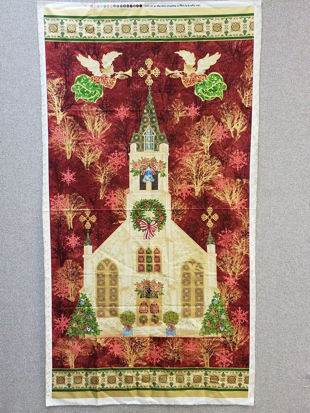 Silent Night with Church Quilt Panel by Ro Gregg