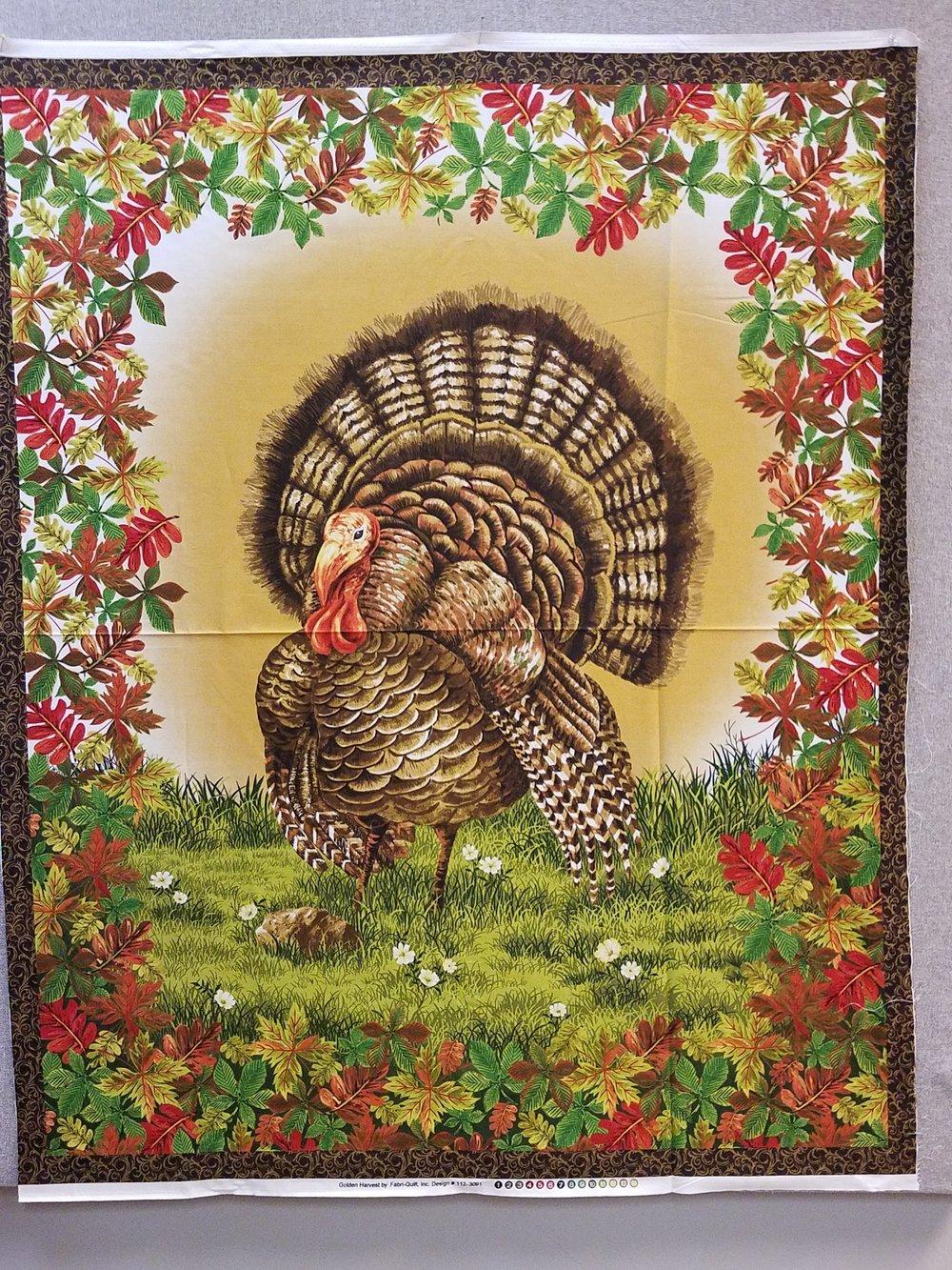 Golden Harvest Turkey Quilt Panel by Fabri-Quilt