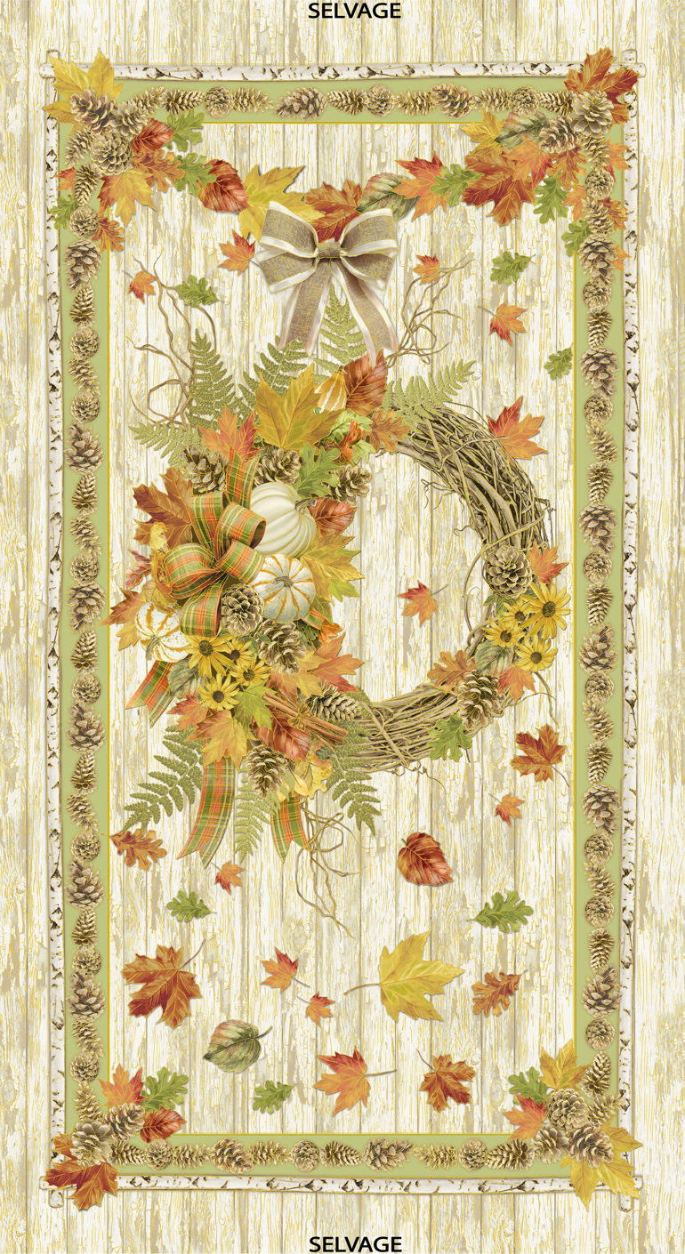 Harvest Wreath Panel by Timeless Treasures