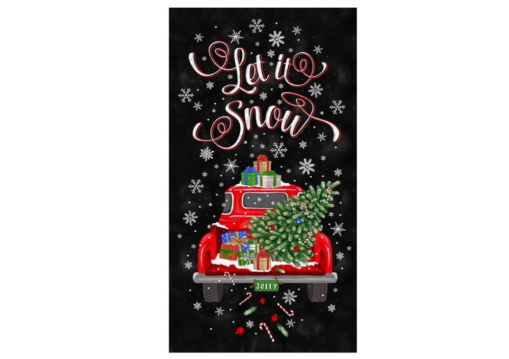 LET IT SNOW Red Truck Panel by Timeless Treasures